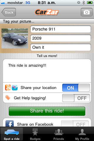 Location-Based Mobile Application for Cars