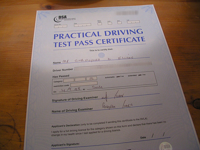 Driving Pass Certificate