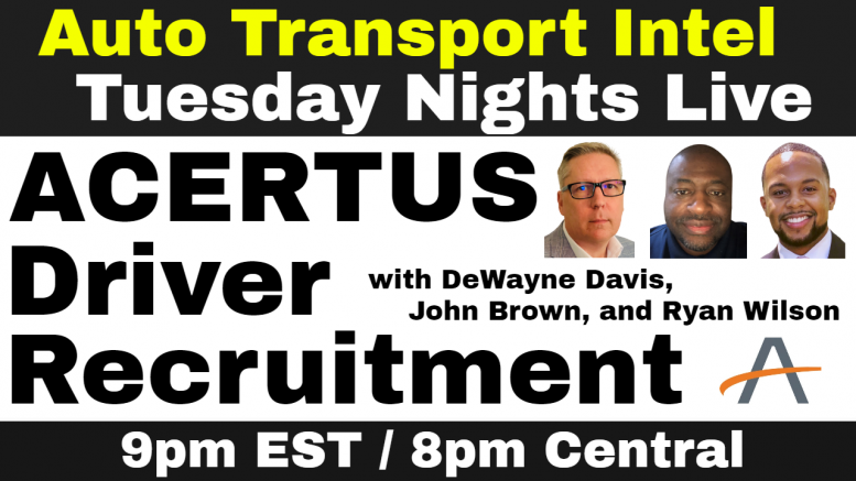 ACERTUS Driver Recruitment: VINlocity Carrier, Drive Away & Compliance