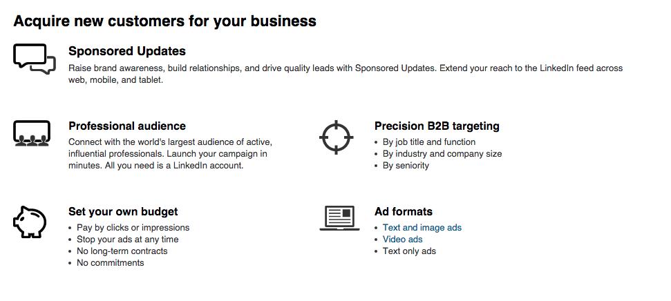 LinkedIn Advertising Options