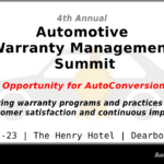 2019 Automotive Warranty Management Summit – October 22 & 23 – Exclusive Event for OEMs, Dealers, and Tier Suppliers