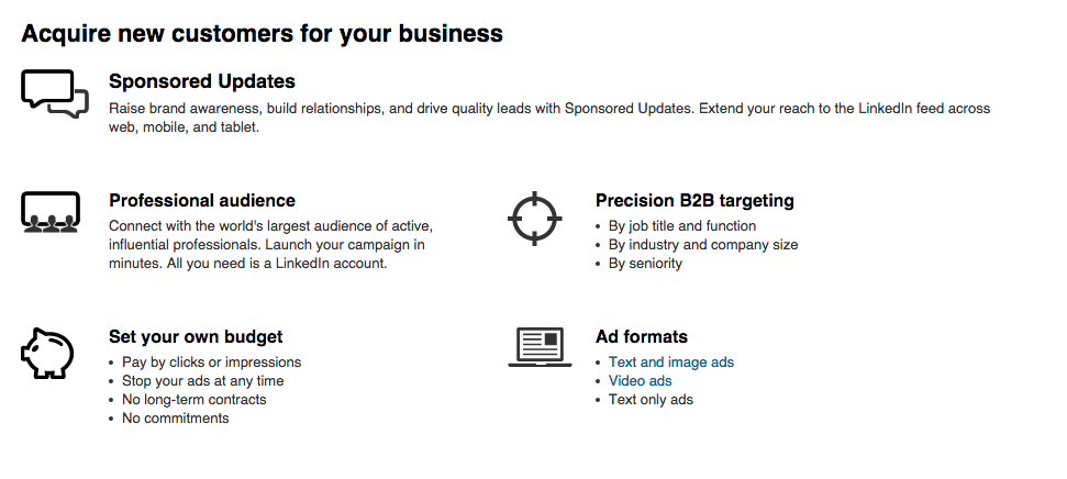 LinkedIn Advertising Options